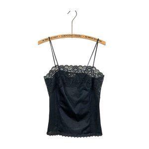 Vintage Lace Satin Cami Top 90s Black